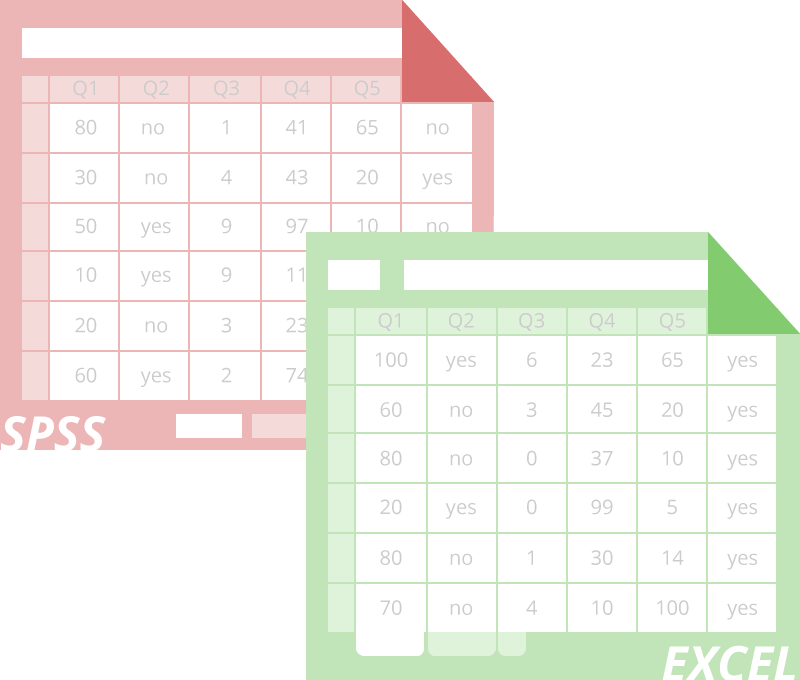 A SPSS and Excel graphic representing two types of downloadable survey format
