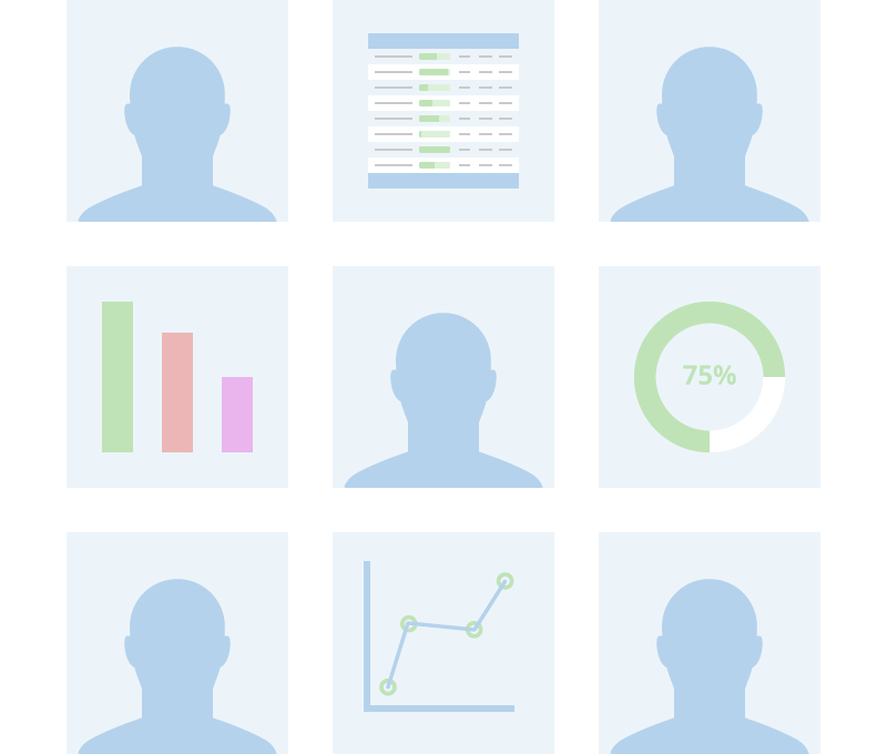 Five silhouettes of people and four different data points being shared among each other