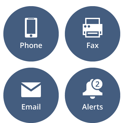 Reaching healthcare professionals through phone, fax, email and other message alerts